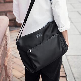 POLO 男士单肩包牛津纺横款斜跨包大容量男包ZY041P533J 黑色