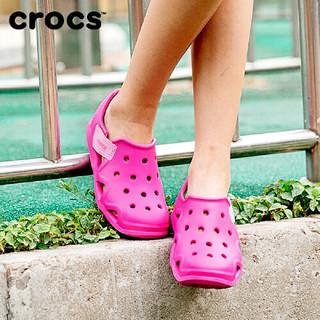 Crocs 卡骆驰 儿童平底洞洞沙滩凉鞋  204021 亮红色 26