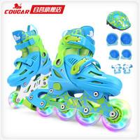 美洲狮(COUGAR)溜冰鞋儿童套装 可调轮滑鞋MZS885蓝色M码