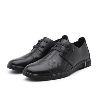 BeLLE 百丽 系带圆头平底男士休闲鞋休闲皮鞋 黑色 38