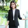 初申 2020夏季长袖修身职业女装小西装时尚通勤西服外套SWXZ188113 黑色XL
