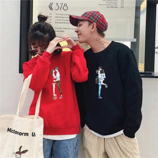 新薇丽(Sum Rayleigh)2019春季新款 圆领韩版套头学生卫衣宽松情侣装班服 HZDF6021 红色 S
