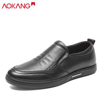 奥康(Aokang)休闲鞋套脚舒适办皮鞋男183431070/193212068黑色39码