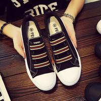 飞耀(FEIYAO)韩版套脚平底帆布鞋女学生L-805 黑色 40