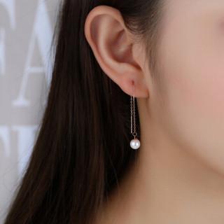 潮宏基 CHJ JEWELLERY 幻月 淡水珍珠18K金彩金耳线耳钉 EEK33702627 红18K金