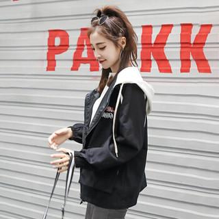 JOY OF JOY 2020春装韩版休闲原宿风ins超火的宽松短外套女棒球服夹克上衣 JWWT187331 黑色 S