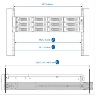 威联通(QNAP)RAIL-B02 机架式 nas网络存储服务器导轨