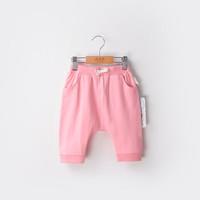 棉果果男童裤子童装女童短裤宝宝夏季七分裤 16362 粉色 90码