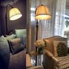 凡丁堡(FANDBO)落地灯客厅卧室阅读立式台灯实木茶几美式现代简约创意钓鱼415FL砂黑