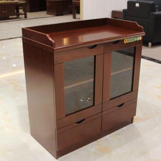 顺富美(SHUNFUMEI)胡桃色茶水柜 80公分茶水柜 储物收纳柜