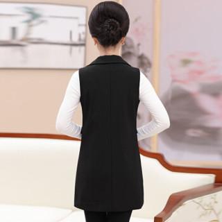 俞兆林 2019新款中老年女装春秋无袖背心40-50岁妈妈装中长款西装坎肩 YWMM191366 黑色 2XL