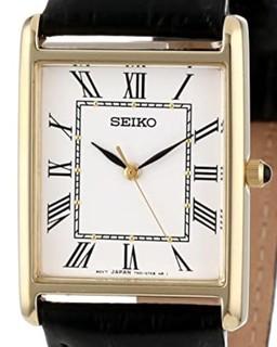 SEIKO 精工 SNF672 男士石英手表 25mm 白盘 黑色皮革带 方形