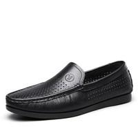 意尔康男鞋透气休闲鞋男士生活皮鞋打孔套脚镂空商务凉鞋男 Y242ZL97161W 黑色 39