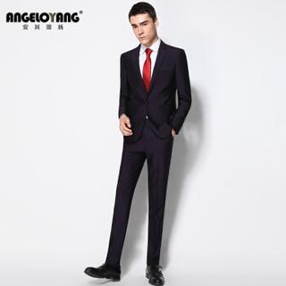 安其罗扬西服套装男 韩版商务休闲职业装修身男士西装套装企业按需制作  6722 紫色 M/170B