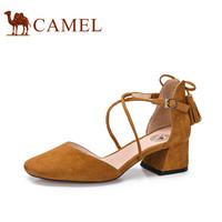 骆驼(CAMEL) 女鞋 优雅流苏圆头浅口粗跟单鞋 A81072609 棕黄 35