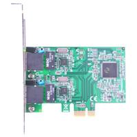 魔羯(MOGE)PCIEx1轉2口千兆網卡 MC2248 百兆/千兆自適應 臺式機網卡擴展卡