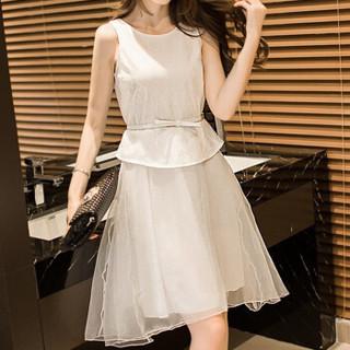 沫欣 2019夏季新品女装连衣裙温柔风女装复古气质休闲长裙 yz2205MXRC 白色 XL