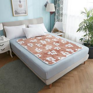 彩阳电热毯双人电褥子上下独立控温电毯子1.5*1.2米安全防水除螨法兰绒家用电暖毯(WT202 千叶草-咖啡)