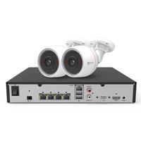 海康威视萤石200万POE监控设备套装X5S+C3T 4路无硬盘 2台1080P家用商用高清摄像头系统监控器
