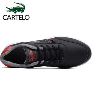卡帝乐鳄鱼 休闲鞋男士时尚舒适低帮系带防滑户外运动男鞋子KDL815A 黑红加棉 44