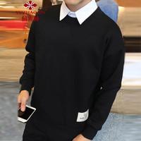 俞兆林(YUZHAOLIN)卫衣 男士时尚纯色百搭卫衣A301-Y12黑色3XL