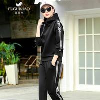 富贵鸟(FUGUINIAO)卫衣套装情侣装时尚套头卫衣休运动长裤两件套 黑色(女) XL