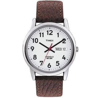 TIMEX 天美时 TW2R56100 男士石英手表 35mm 白盘 棕色皮革带 圆形