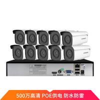 龙视安(Loosafe)500万监控设备套装POE录像机摄像头套装 H.265X高清红外夜视家用商用监控器 10路4T硬盘