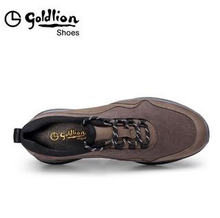 金利来(goldlion)男鞋舒适运动鞋轻质透气时尚休闲鞋559830245FRB-深卡其色-41码