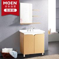 摩恩(MOEN)三孔橡木色800MM柜体+梳妆镜+89121 浴室柜洗脸盆浴室梳妆镜柜组合套装 配抽拉龙头