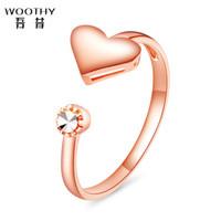 吾昔(WOOTHY)18K金戒指 心语 仿钻面 心形开口戒 提供刻字服务 GRI01448 15#