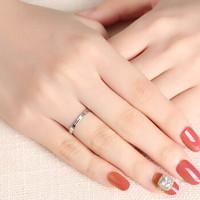 吾昔 PT950铂金戒指  印记 时尚简约线圈白金戒指指环铂金戒指女款 约1.3G-1.43G 如图 14号约1.43g-1.45g