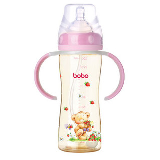 bobo 乐儿宝 小金瓶系列 宽口径PPSU奶瓶 300ml 红色 *2件