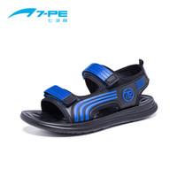 七波辉(7-PE)男童鞋 新款男童时尚拼色皮凉鞋儿童耐磨休闲凉鞋 HB54106 黑/宝蓝  35