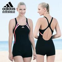阿迪达斯 adidas 连体泳衣女士显瘦修身平角防走光高弹竞技抗氯 CV5683 黑色 XL
