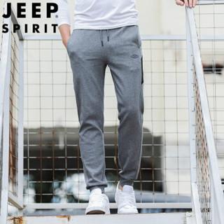 吉普 JEEP 卫裤男运动裤束脚 2019春季新款男士休闲简约纯色长裤小脚UT1111 灰色 3XL
