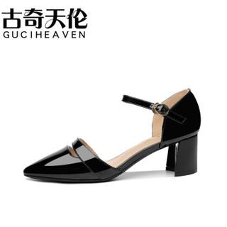 古奇天伦 GUCIHEAVEN 尖头粗跟一字式扣带纯色防水台凉鞋 9280 黑色 34
