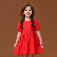 I.K 印象童年 女童纯棉红色连衣裙