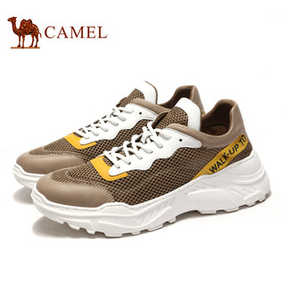 骆驼(CAMEL) 韩版百搭休闲运动潮鞋男 A912241090 卡其/白 39