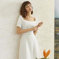 范思蓝恩 Z201001 夏季女款泡泡袖白色仙女裙