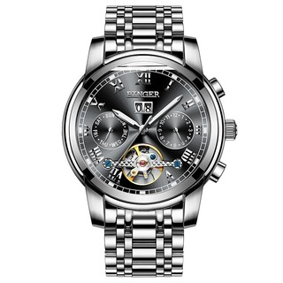 宾格(BINGER)手表男机械表全自动镂空腕表防水夜光 8601钢黑