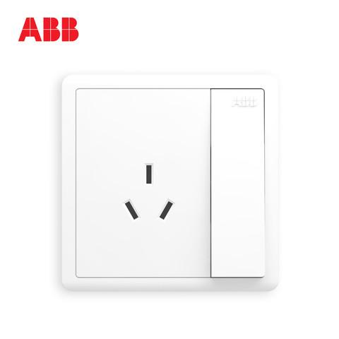 ABB AO223 开关插座无框远致白墙壁86型插座面板一开10A三孔空调插 *5件