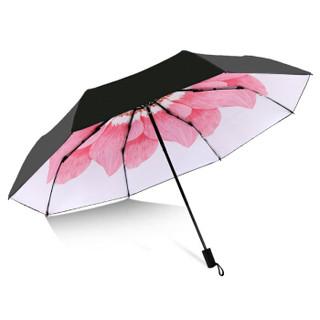 C'mon 粉黛伞 遮阳伞防晒伞黑胶小黑伞折叠晴雨伞太阳伞女防紫外线 55cm*8骨 三折手动白色款