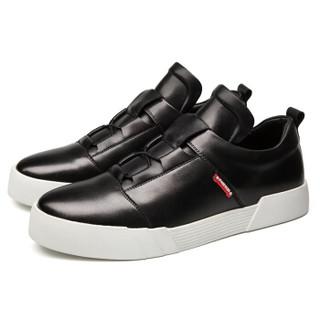 图哲(TOLZE)简约时尚休闲鞋男潮流运动鞋 低帮百搭男鞋子 8875 黑色 43码