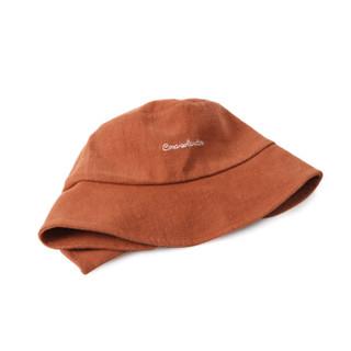 初荷 TRUE HER 渔夫帽女男春夏字母遮阳帽出游太阳盆帽帽子 棕色