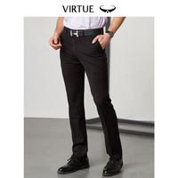 富绅Virtue 西裤男基础纯色商务绅士修身小直筒长裤 YKF30121001 黑色平纹 100