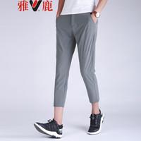 雅鹿休闲裤男时尚韩版男士弹力舒适透气小脚九分裤YLYJ182T5 灰色 34