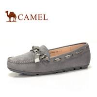 骆驼(CAMEL) 女士 甜美舒适蝴蝶结圆头豆豆鞋 A83507605 灰色 37