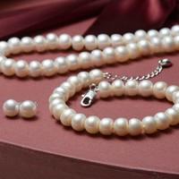 想念 7-8mm/8-9mm扁圆白色淡水珍珠项链手链耳钉三件套礼物 珠宝宠自己送妈妈