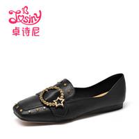 卓诗尼女休闲低跟方头中性水钻纯色乐福鞋112810473 黑色 37